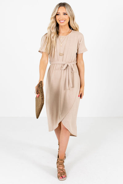 Women's Brown Cuffed Sleeved Boutique Knee-Length Dresses