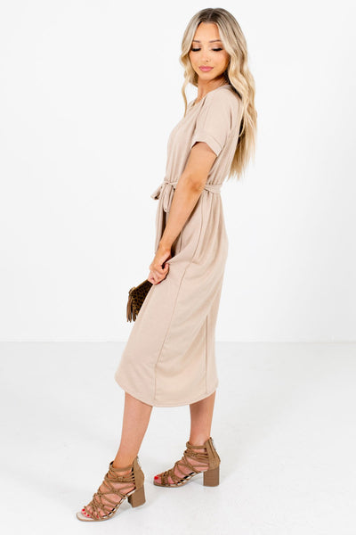 Brown Waist Tie Detail Boutique Knee-Length Dresses for Women