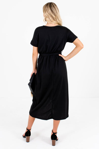 Women's Black Elastic Waistband Boutique Knee-Length Dress