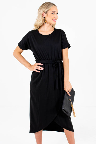 Black Faux Wrap Style Boutique Knee-Length Dresses for Women