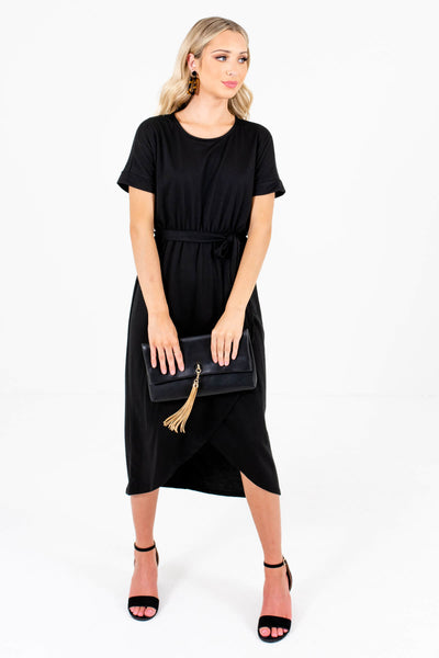 Black Cute and Comfortable Boutique Knee-Length Dresses for Women