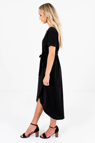 Women's Cuffed Sleeved Boutique Knee-Length Dresses