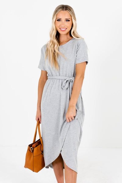 Women's Heather Gray Cuffed Sleeved Boutique Knee-Length Dresses