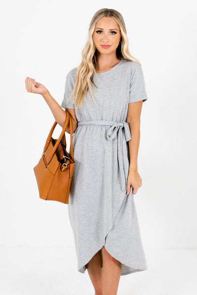 Heather Gray Faux Wrap Style Boutique Knee-Length Dresses for Women