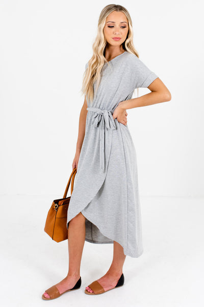 Heather Gray Waist Tie Detail Boutique Knee-Length Dresses for Women