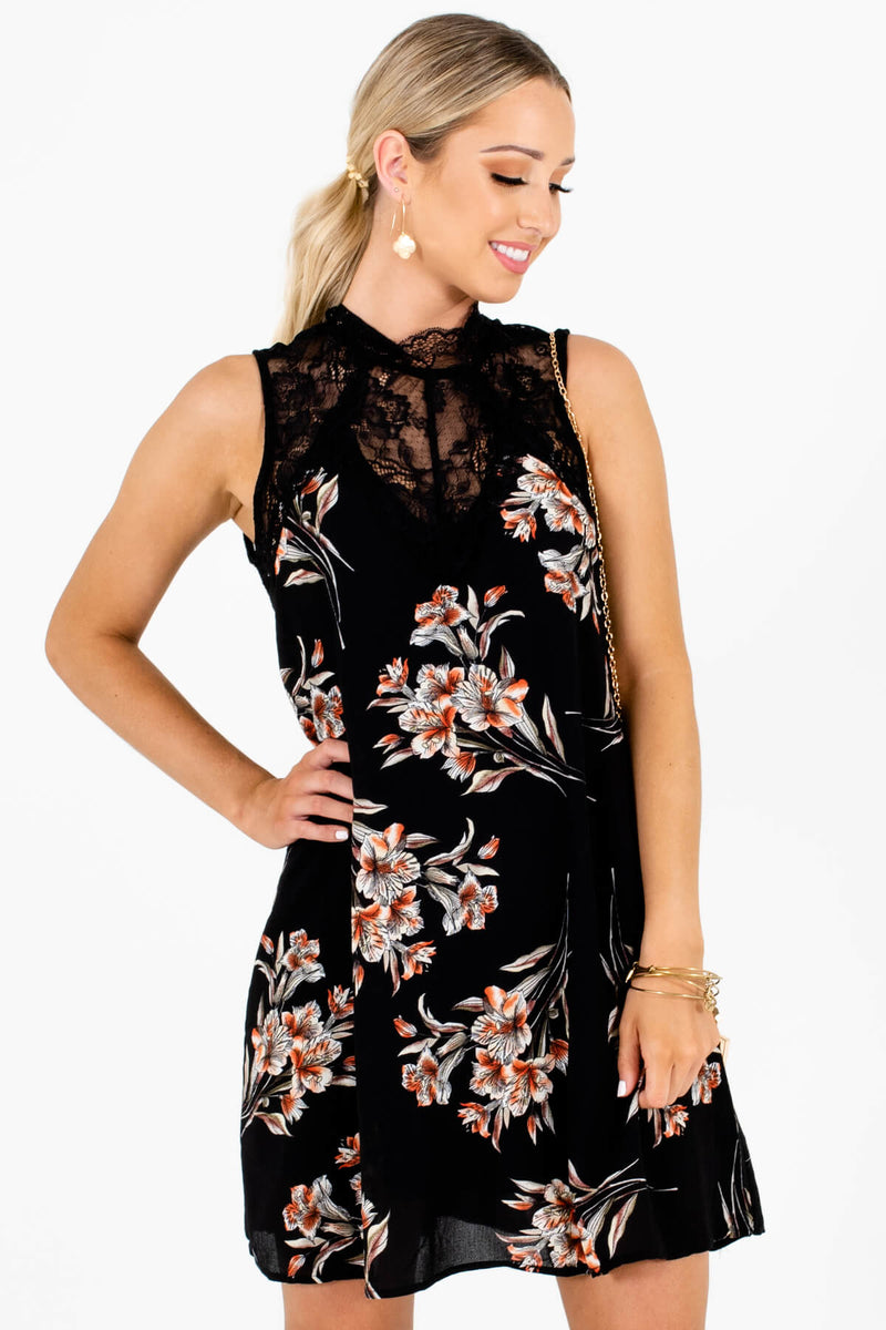 Bouquet of Lilies Black Floral Mini Dress