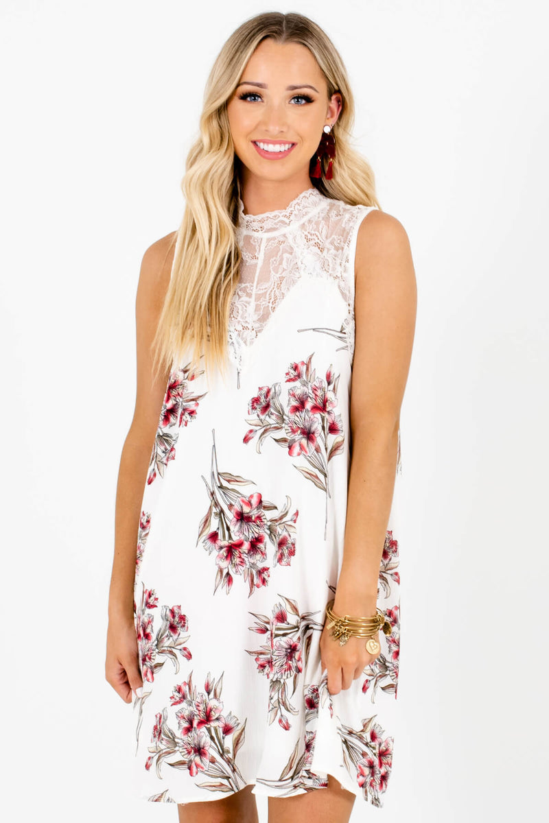 Bouquet of Lilies White Floral Mini Dress