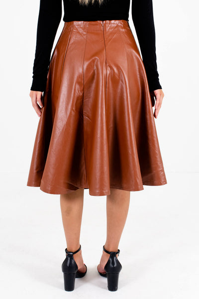 Women's Brown Knee-Length Boutique Skirts