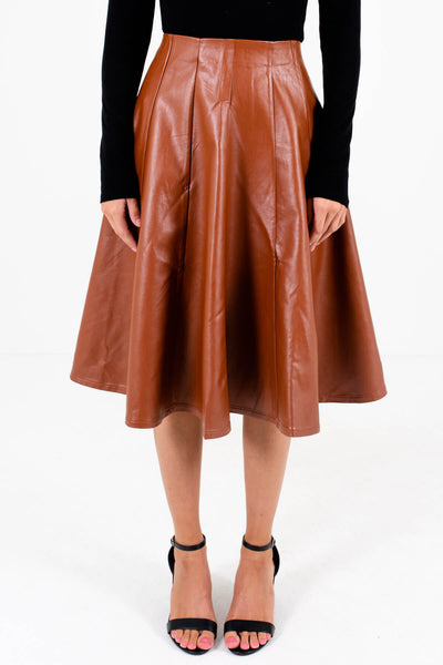 Brown Faux Leather Material Boutique Skirts for Women