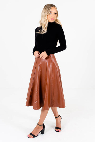 Women's Brown Hook and Eye Closure Boutique Skirt