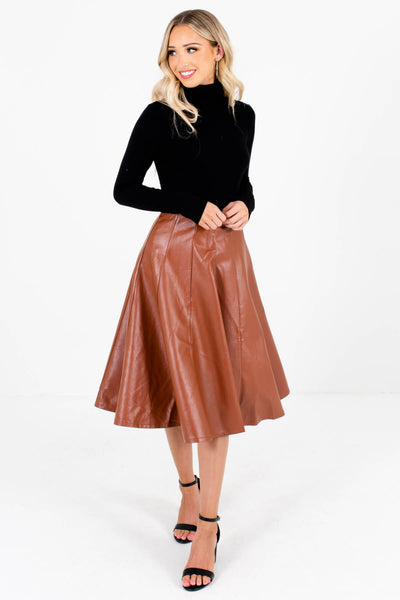Women's Brown High-Quality Boutique Knee-Length Skirts