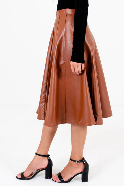 Brown Side Zipper Detailed Boutique Knee-Length Skirts for Women