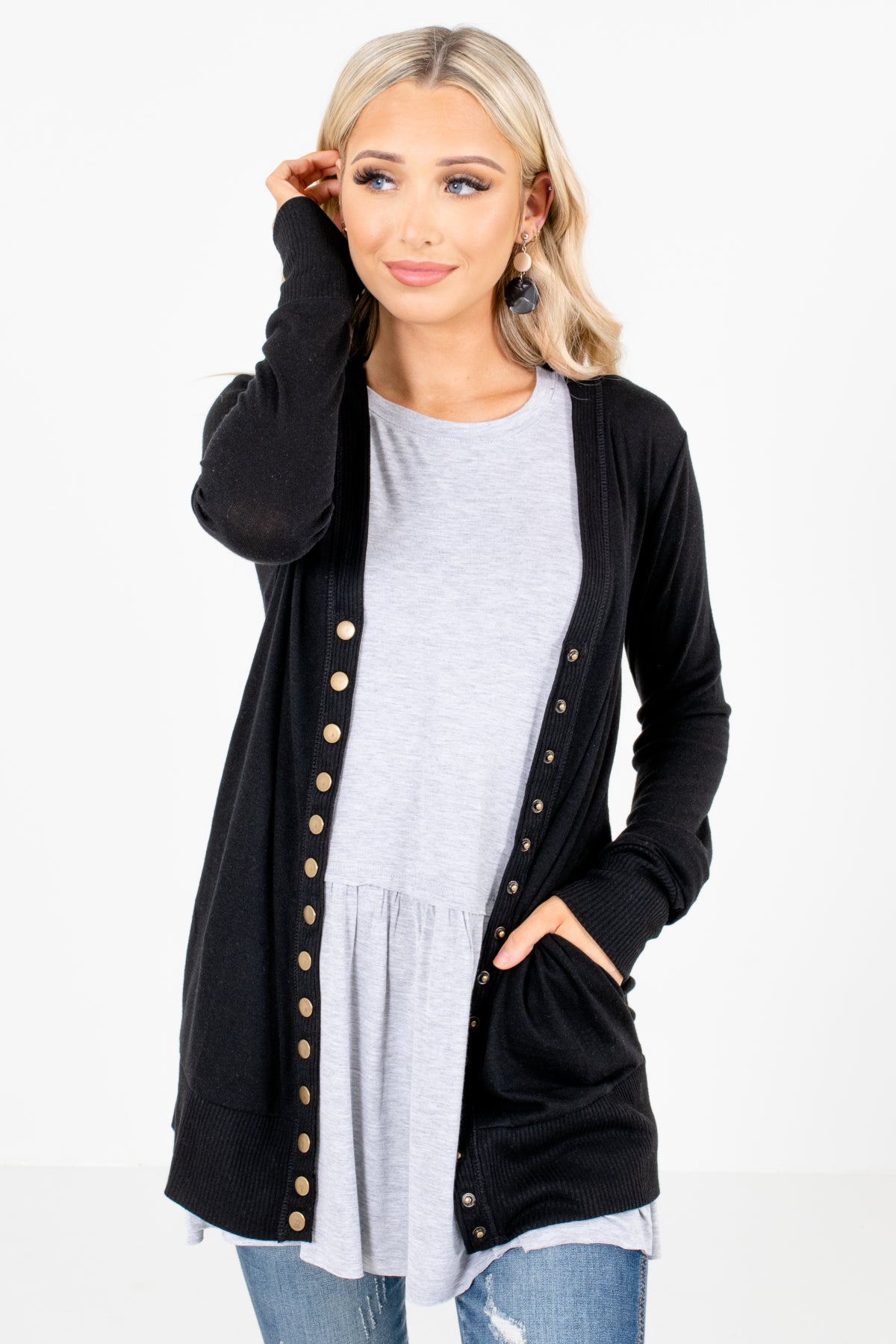 Snap Button Cardigan in Black