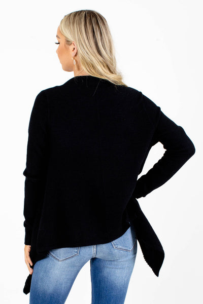 Black Long Sleeve Boutique Cardigans for Women