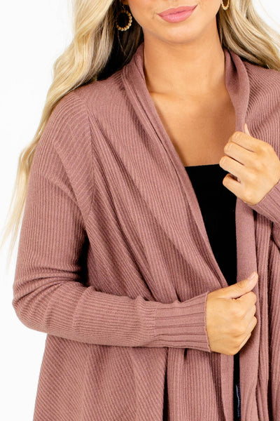 Women's Mauve Ribbed Material Boutique Cardigan