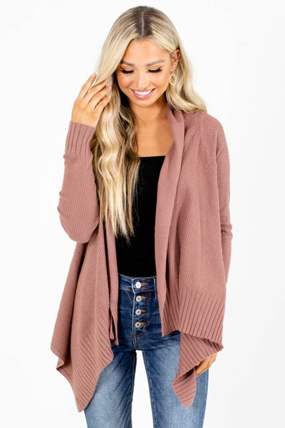 Mauve Asymmetrical Hem Boutique Cardigans for Women