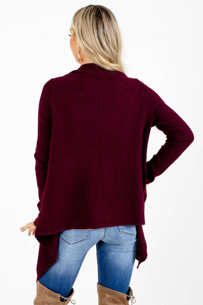 Women's Purple Asymmetrical Hem Boutique Cardigan