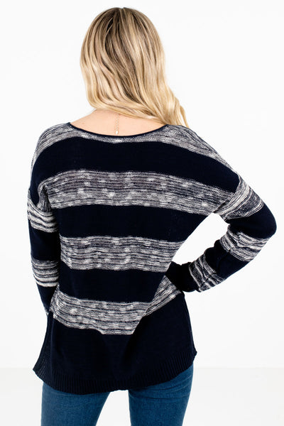 Women's Navy High-Low Hem Boutique Sweater