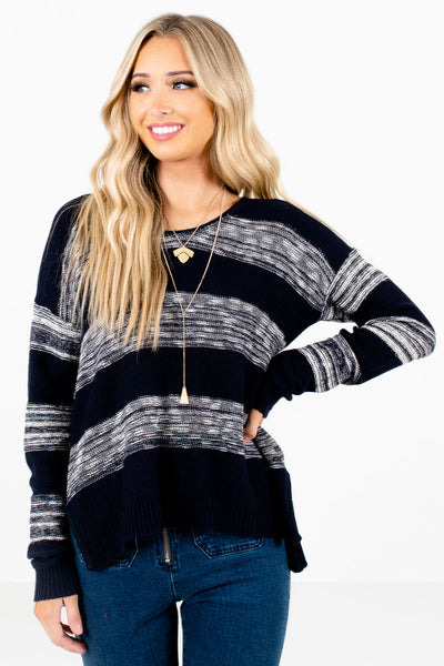 Navy Blue and White Striped Boutique Sweaters for Women