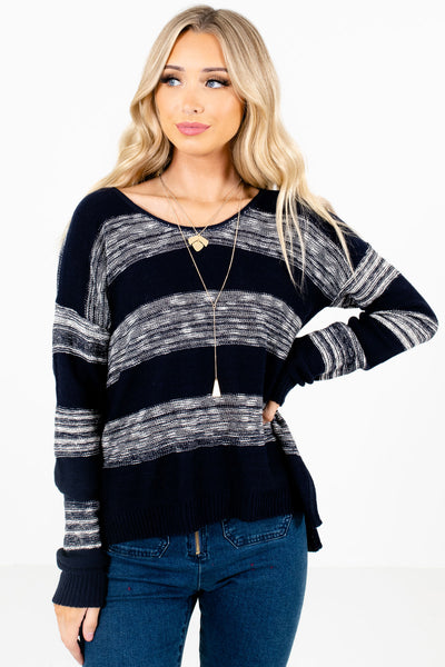Women's Navy Blue High-Quality Knit Material Boutique Sweater