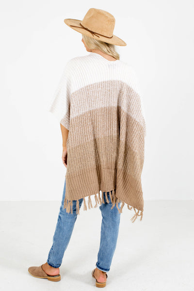 Women's Beige Shawl Style Boutique Cardigan