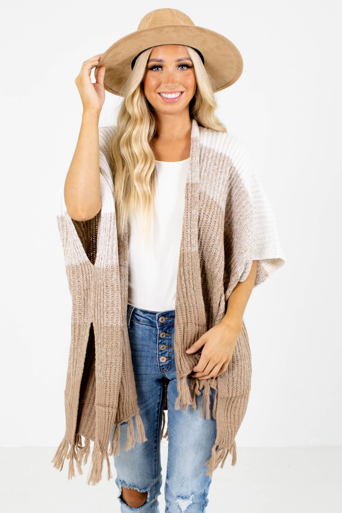 Beige Ombre Boutique Cardigans for Women