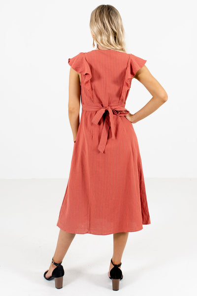 Women's Orange Button-Up Front Boutique Midi Dress