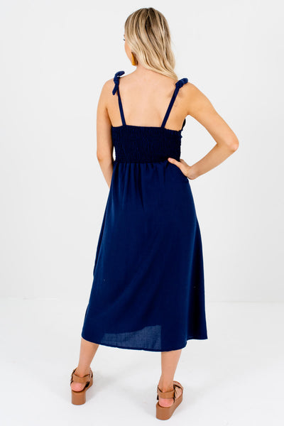 Women's Navy Blue Self-Tie Strap Boutique Midi Dresses