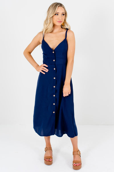 Navy Blue Smocked Back Boutique Midi Dresses for Women