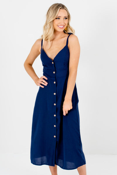 Navy Blue Wooden Button-Up Front Boutique Midi Dresses for Women