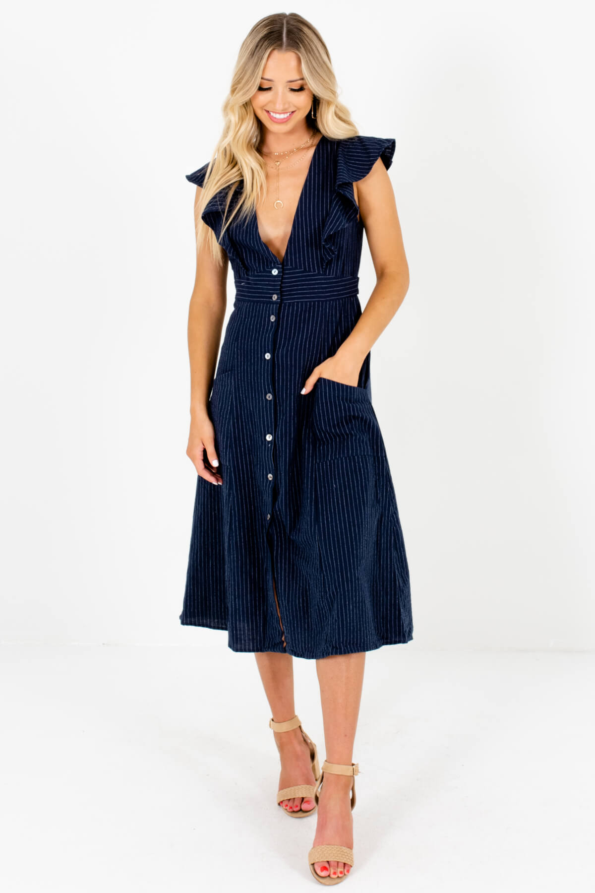 Navy Blue and White Striped Boutique Midi Dresses for Women