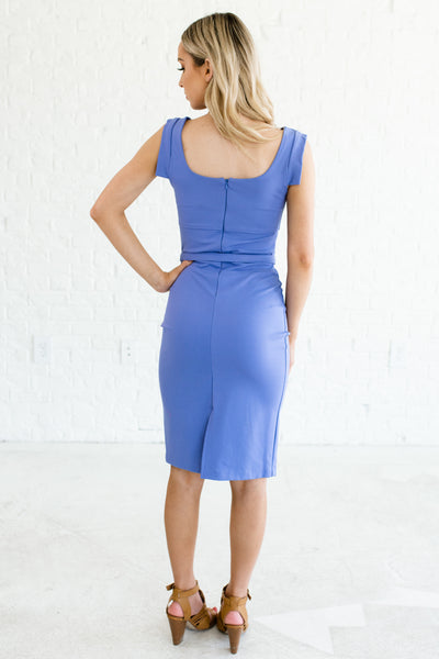 Periwinkle Blue Business Casual Fitted Structured Knee Length Dresses