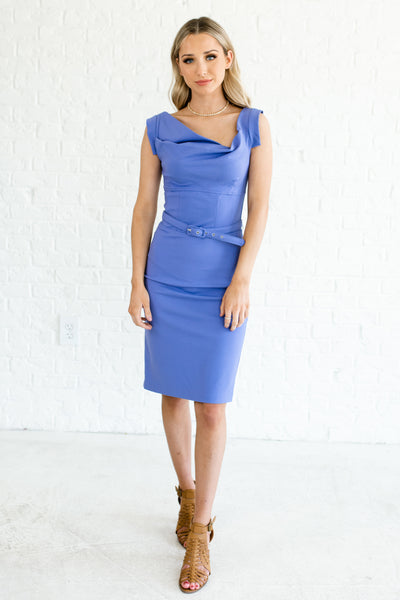 Periwinkle Blue Knee Length Structured Fancy Dresses