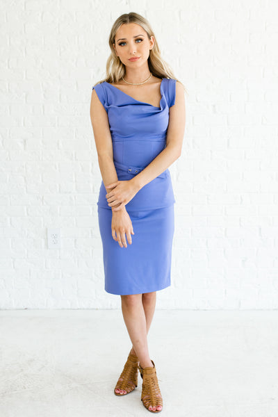 Periwinkle Blue Fancy Knee Length Dresses Boutique