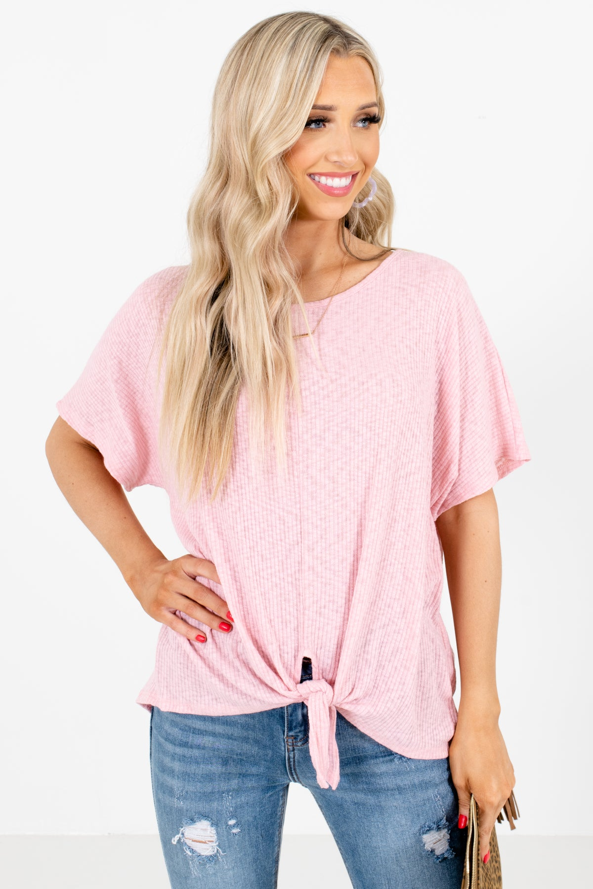 Pink Tie Front Detailed Boutique Tops for Women
