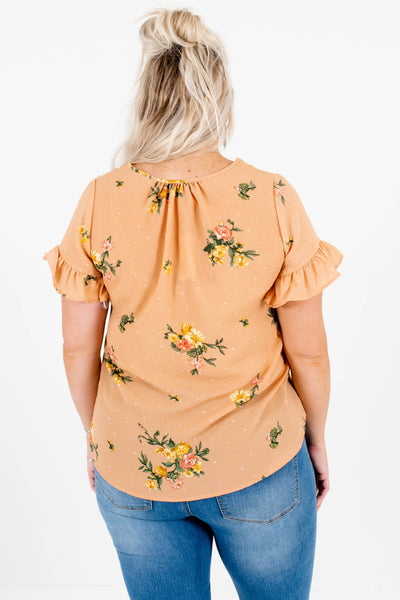 Light Orange Pink Green Yellow Polka Dot Floral Plus Size Tops