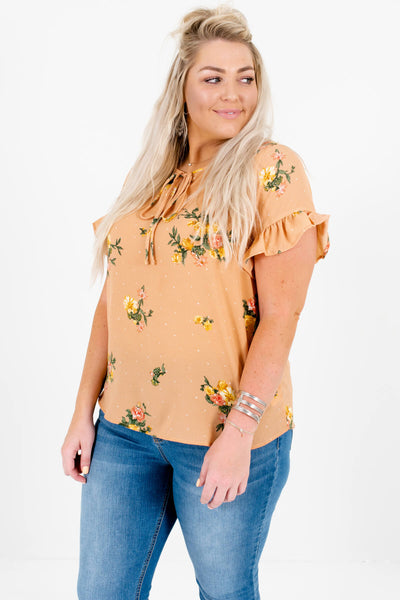 Light Orange Pink Green Yellow Floral Polka Dot Plus Size Tops