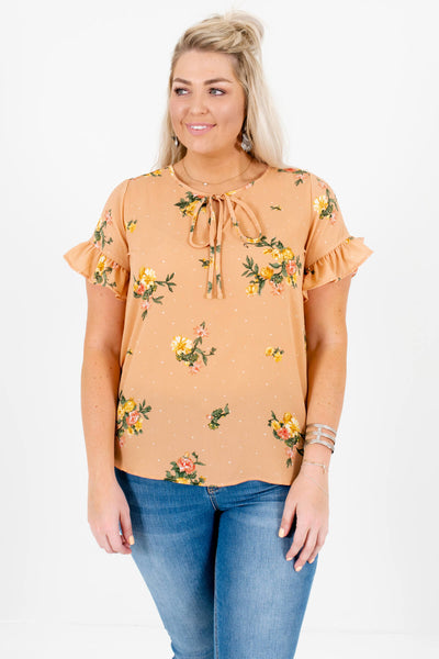Light Orange Polka Dot Floral Plus Size Tops with Ruffle Sleeves