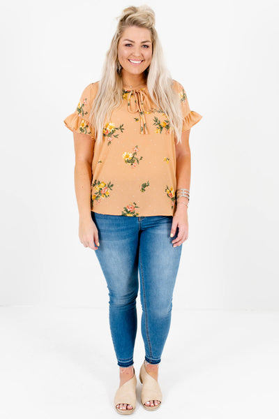 Light Orange Floral Polka Dot Plus Size Tops Affordable Online Boutique