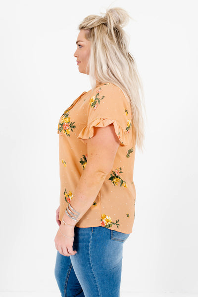 Light Orange Plus Size Floral Polka Dot Tops Affordable Online Boutique