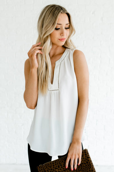Cream White Sleeveless Style Flowy Silhouette Boutique Blouses for Women