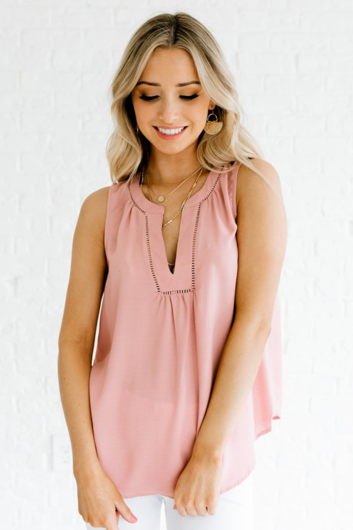 Pink Sleeveless Style Flowy Silhouette Boutique Blouses for Women