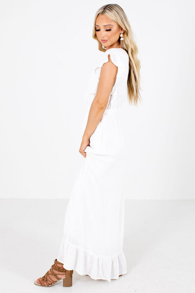 White Waist Tie Detailed Boutique Maxi Dresses for Women