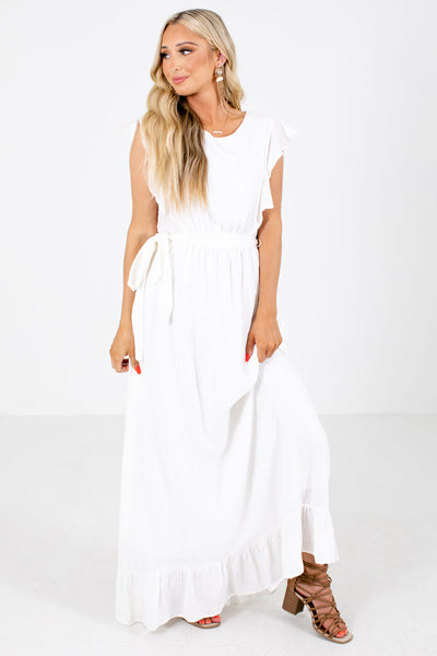 White Ruffle Accented Boutique Maxi Dresses for Women