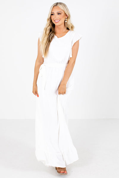 Women's White Elastic Waistband Boutique Maxi Dress