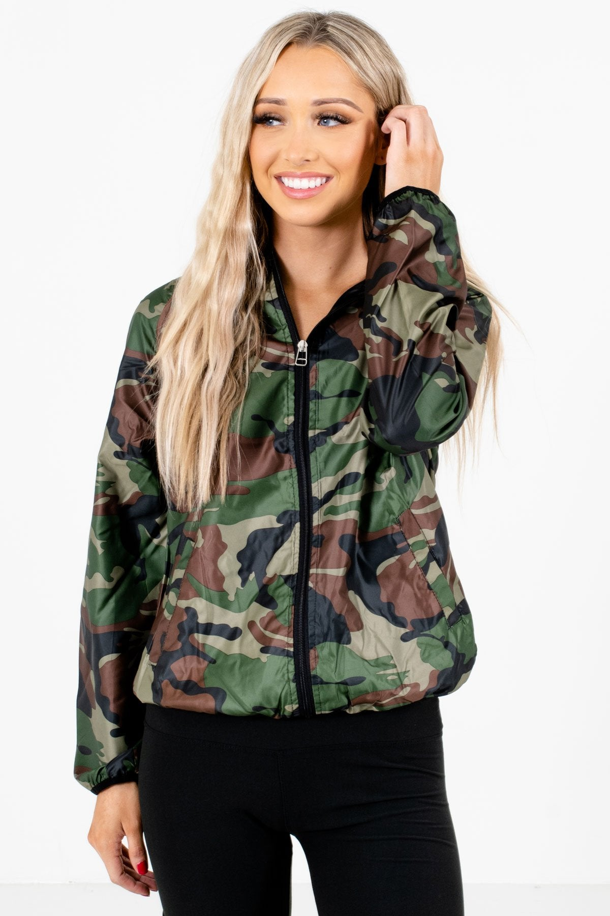 Green Camo Print Boutique Jackets for Women