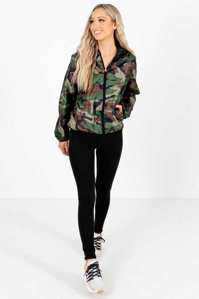 Green Camo Cute and Comfortable Boutique Windbreaker Jackets for Women