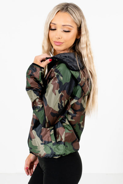 Green Camo Boutique Windbreakers with Hoods for Women