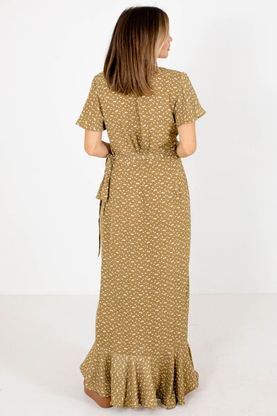 Women's Green Wrap Style Boutique Maxi Dress