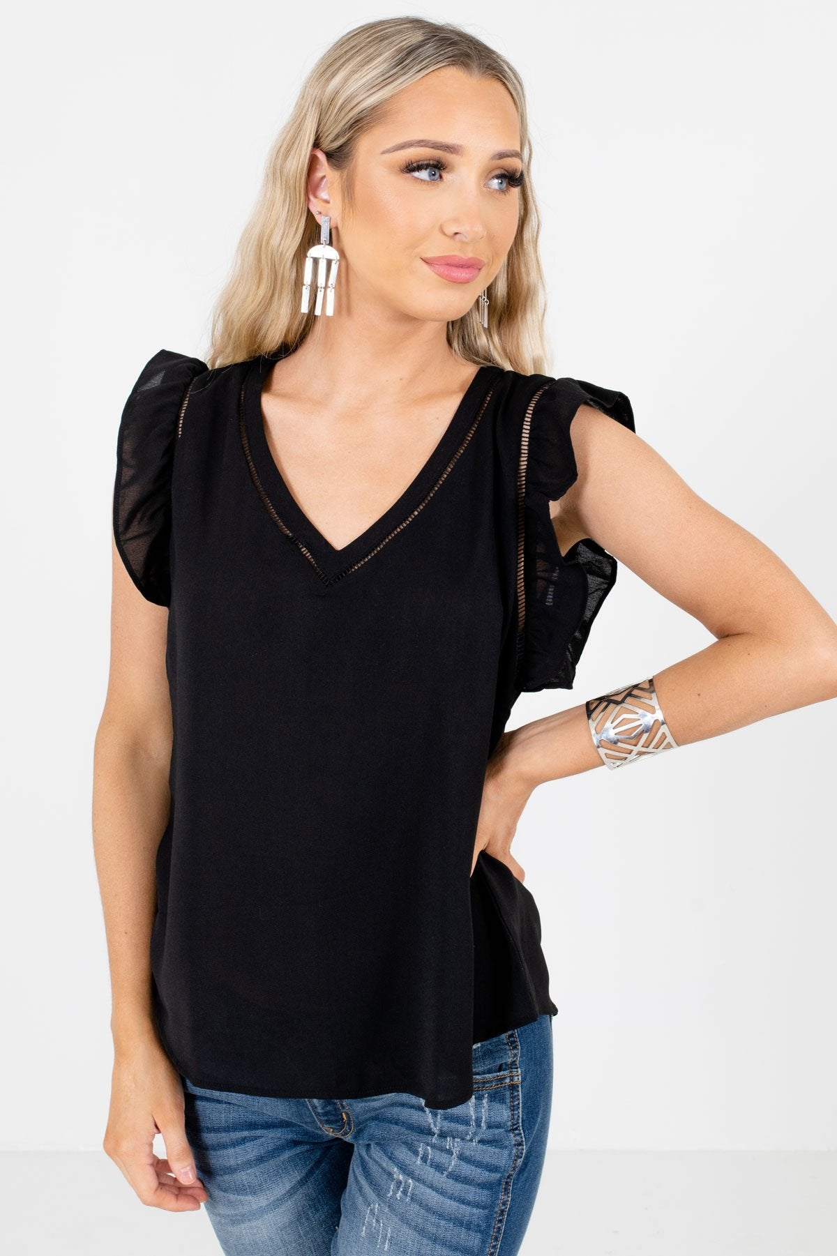 Black Flutter Sleeve Style Boutique Blouses for Women